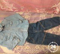 Джинсовая рубашка + джинсы р. 92