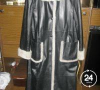 Лайковое пальто с голубой норкой