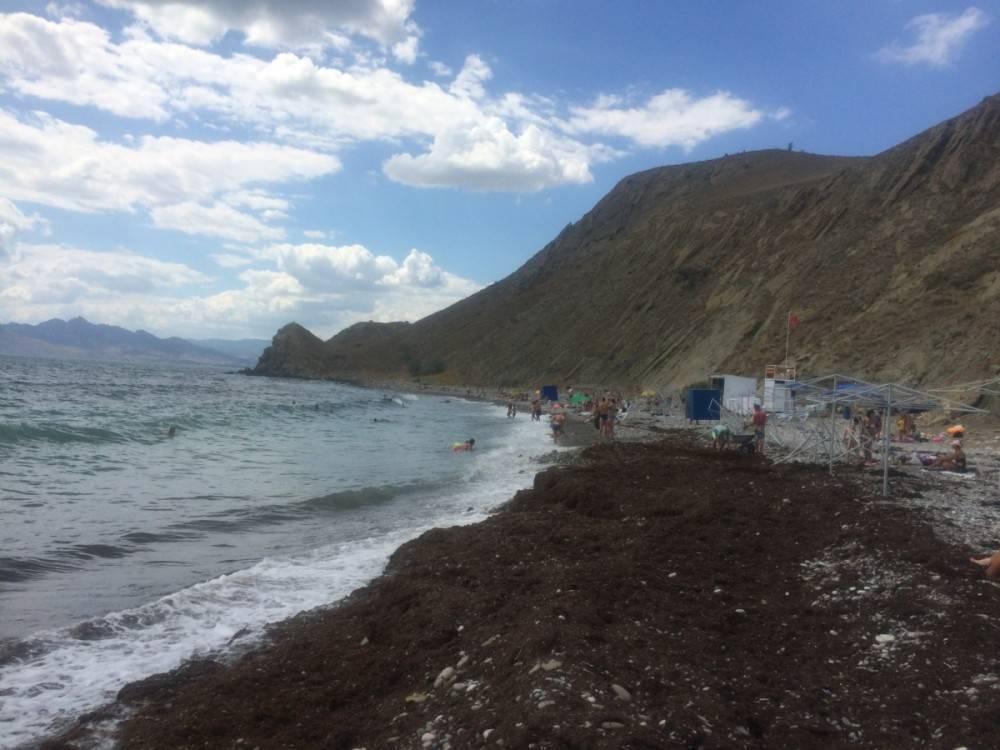 Под Феодосией морские волны вымыли с пляжа теневые зонты (ФОТОФАКТ)