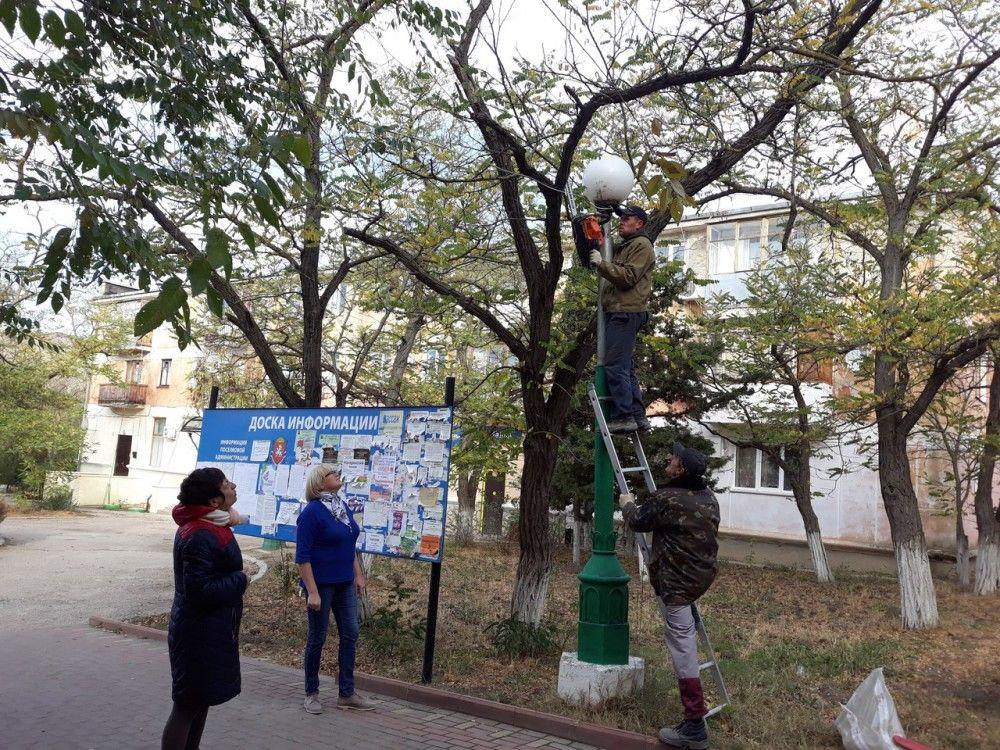 В феодосийском Орджоникидзе идут работы по обрезке деревьев