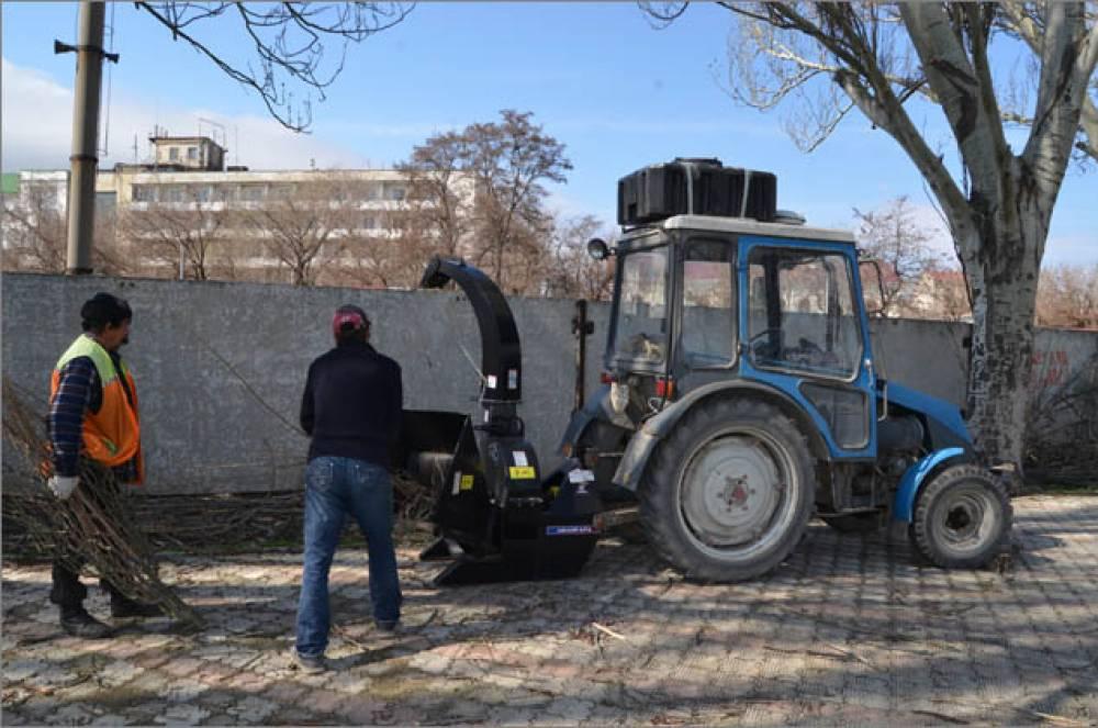 Феодосийские коммунальщики опробовали новую технику – веткорезку