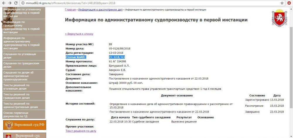 Феодосийский чиновник оштрафован за езду в пьяном виде