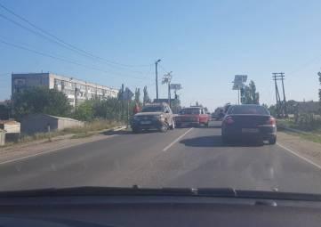 Пробка из-за столкновения авто