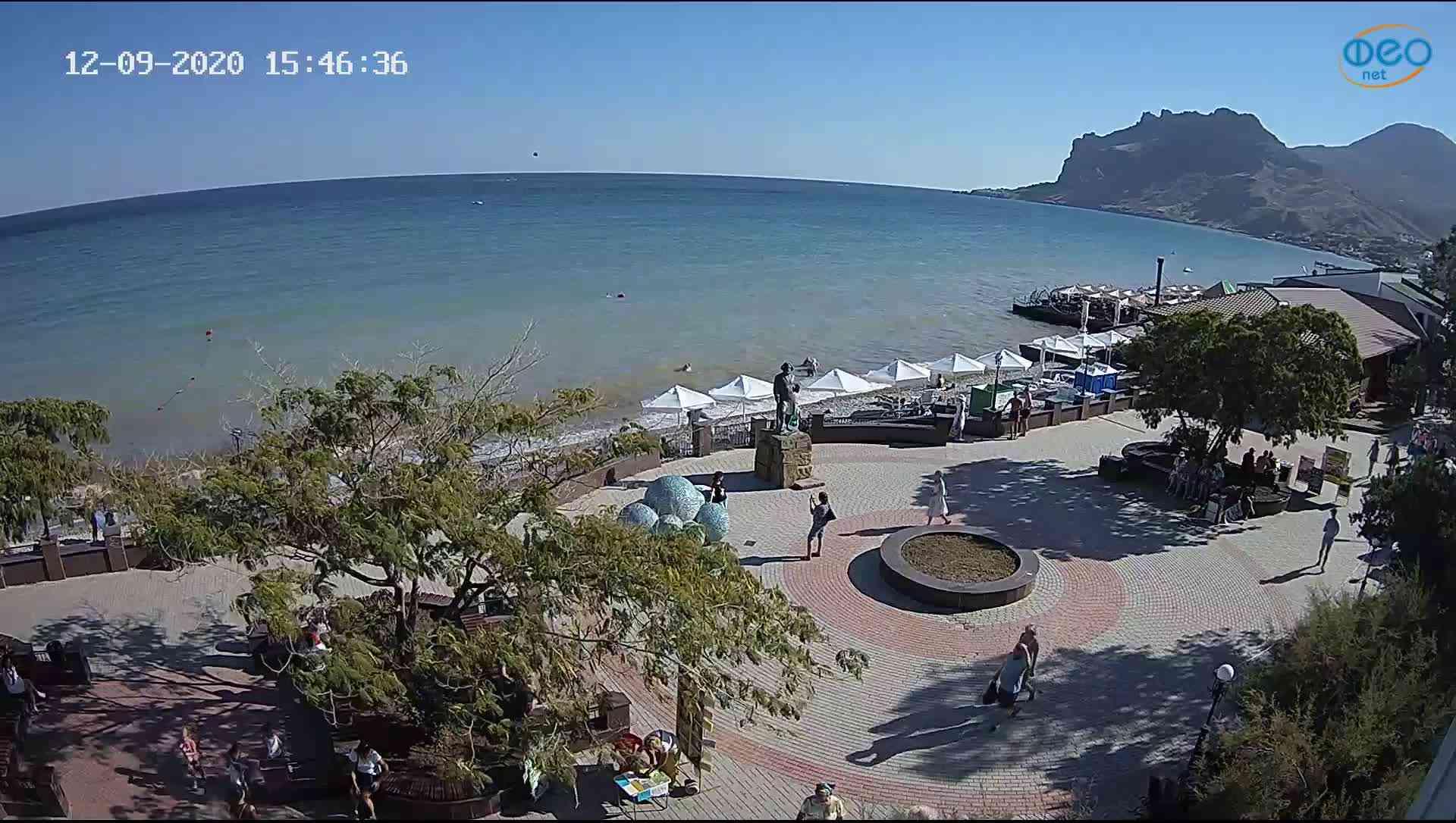 Веб-камеры Феодосии, Набережная Коктебель перед домом Волошина, 2020-09-12 15:46:53