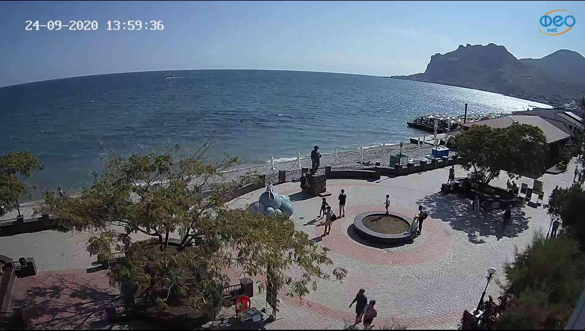 Веб-камеры Феодосии, Набережная Коктебель перед домом Волошина, 2020-09-24 13:59:52
