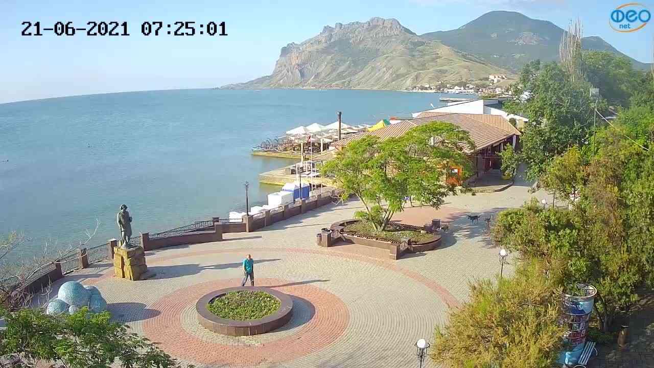 Веб-камеры Феодосии, Набережная Коктебель перед домом Волошина, 2021-06-21 07:25:13