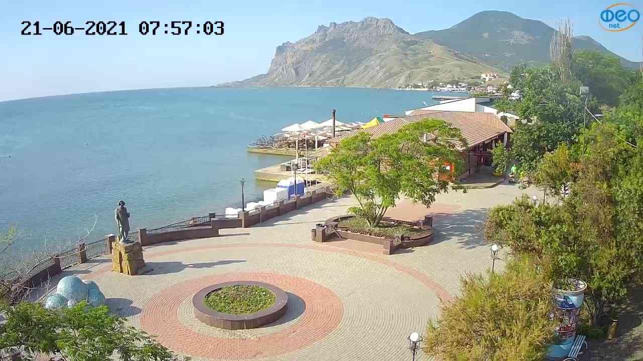 Веб-камеры Феодосии, Набережная Коктебель перед домом Волошина, 2021-06-21 07:57:14