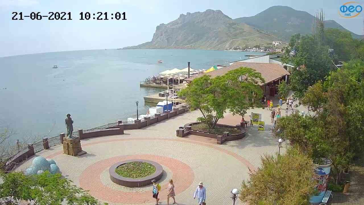 Веб-камеры Феодосии, Набережная Коктебель перед домом Волошина, 2021-06-21 10:21:13