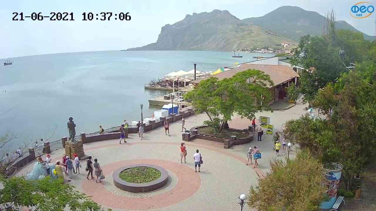 Веб-камеры Феодосии, Набережная Коктебель перед домом Волошина, 2021-06-21 10:37:14