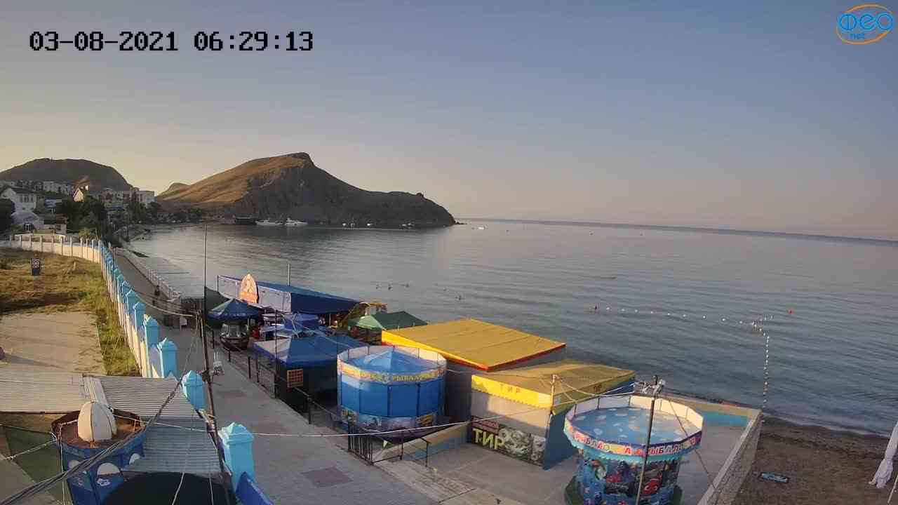 Веб-камеры Феодосии, Орджоникидзе - набережная - вид на Васюковку, 2021-08-03 06:29:23