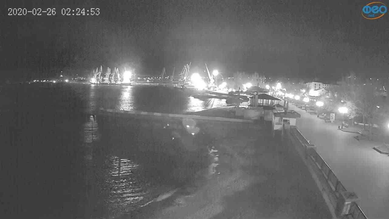 Веб-камеры Феодосии, Вид на порт и маяк, 2020-02-26 02:25:11